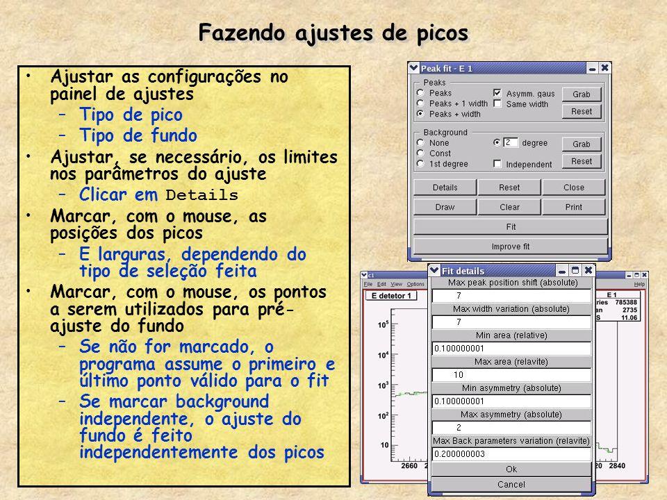 Fazendo ajustes de picos Ajustar as configurações no painel de ajustes –Tipo de pico –Tipo de fundo Ajustar, se necessário, os limites nos parâmetros
