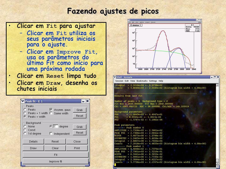 Fazendo ajustes de picos Clicar em Fit para ajustar –Clicar em Fit utiliza os seus parâmetros iniciais para o ajuste. –Clicar em Improve Fit, usa os p