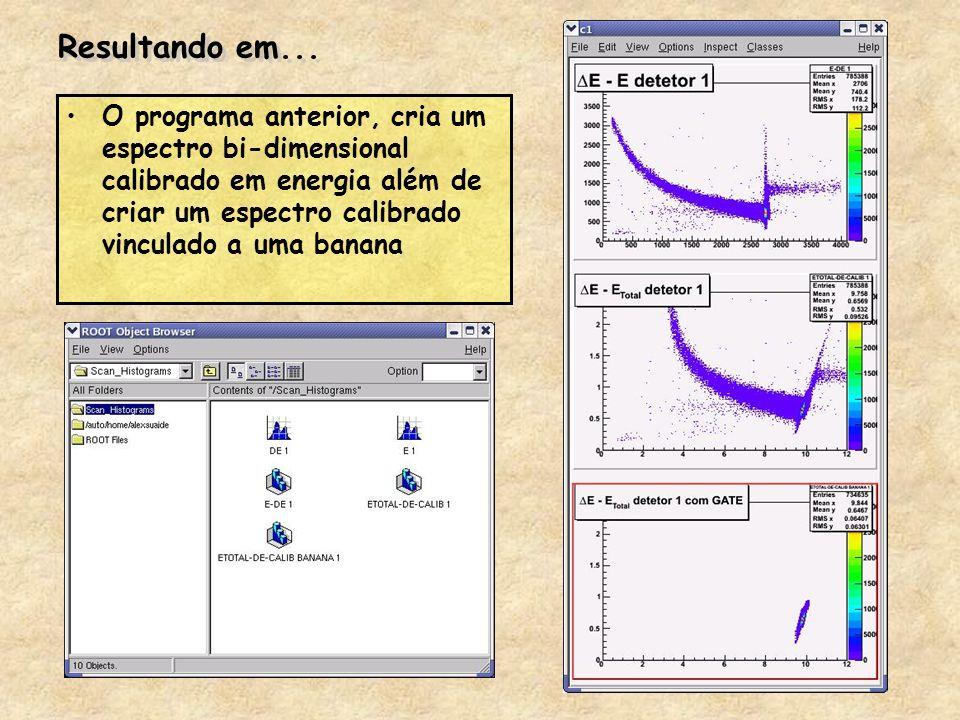 Resultando em... O programa anterior, cria um espectro bi-dimensional calibrado em energia além de criar um espectro calibrado vinculado a uma banana