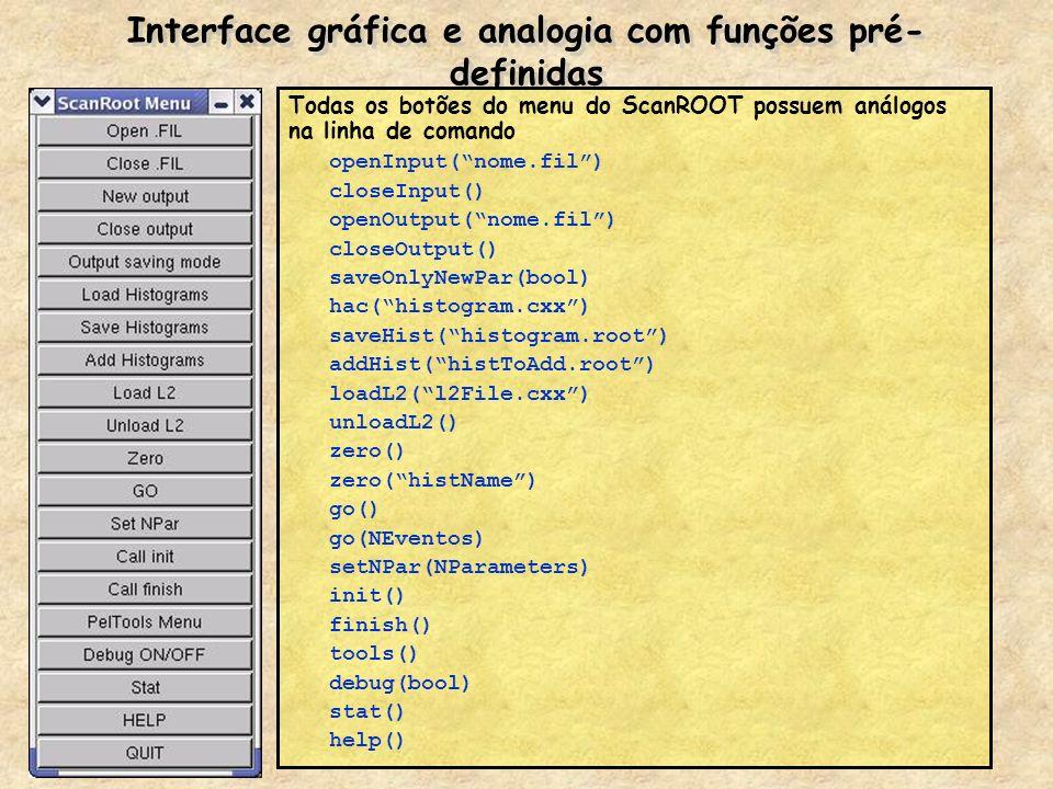 Como rodar um arquivo.FIL e criar histogramas Através da interface gráfica –Load Histograms Abra o arquivo.cxx (ou.so) contendo as funções de preenchimento dos histogramas –Open.FIL Escolha o arquivo.FIL adequado –Zero Digite * para zerar todos histogramas.