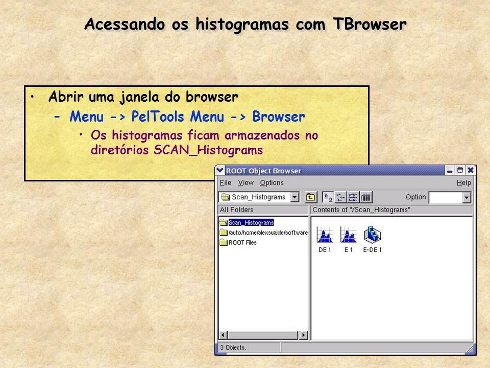 Acessando os histogramas com TBrowser Abrir uma janela do browser –Menu -> PelTools Menu -> Browser Os histogramas ficam armazenados no diretórios SCA