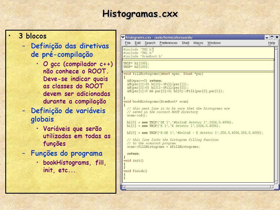 Histogramas.cxx 3 blocos –Definição das diretivas de pré-compilação O gcc (compilador c++) não conhece o ROOT. Deve-se indicar quais as classes do ROO