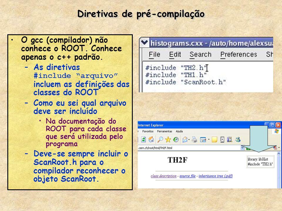 Diretivas de pré-compilação O gcc (compilador) não conhece o ROOT. Conhece apenas o c++ padrão. –As diretivas #include arquivo incluem as definições d