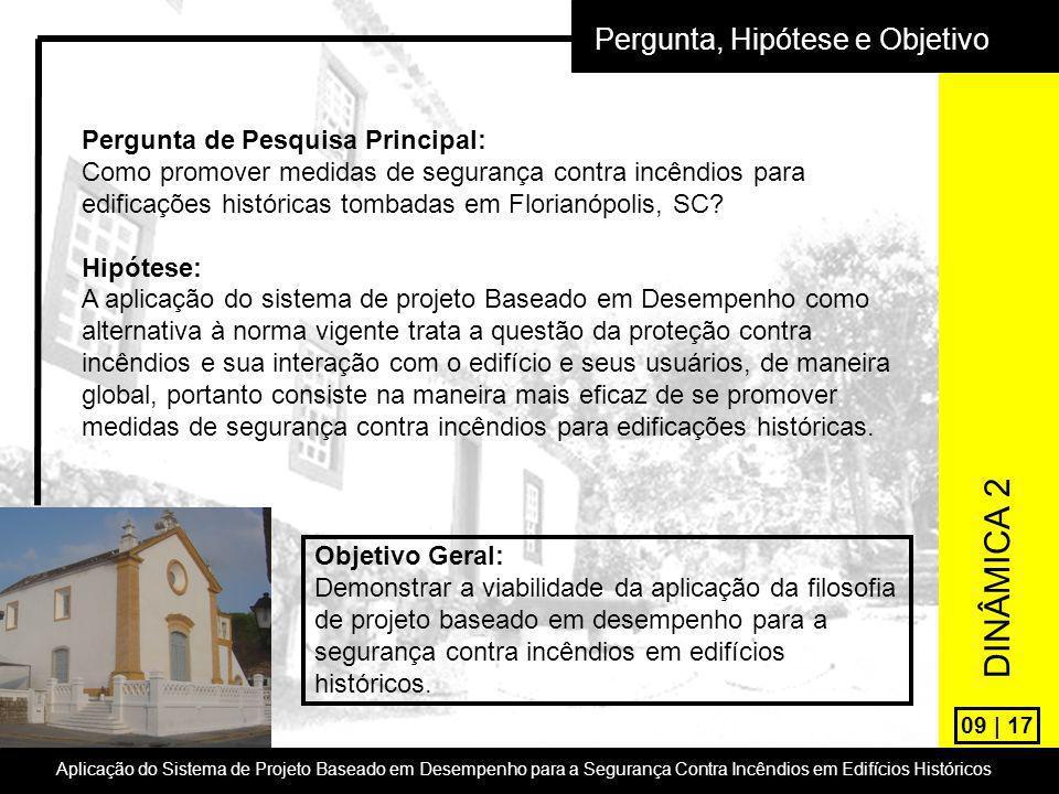 09 | 17 Pergunta, Hipótese e Objetivo Pergunta de Pesquisa Principal: Como promover medidas de segurança contra incêndios para edificações históricas