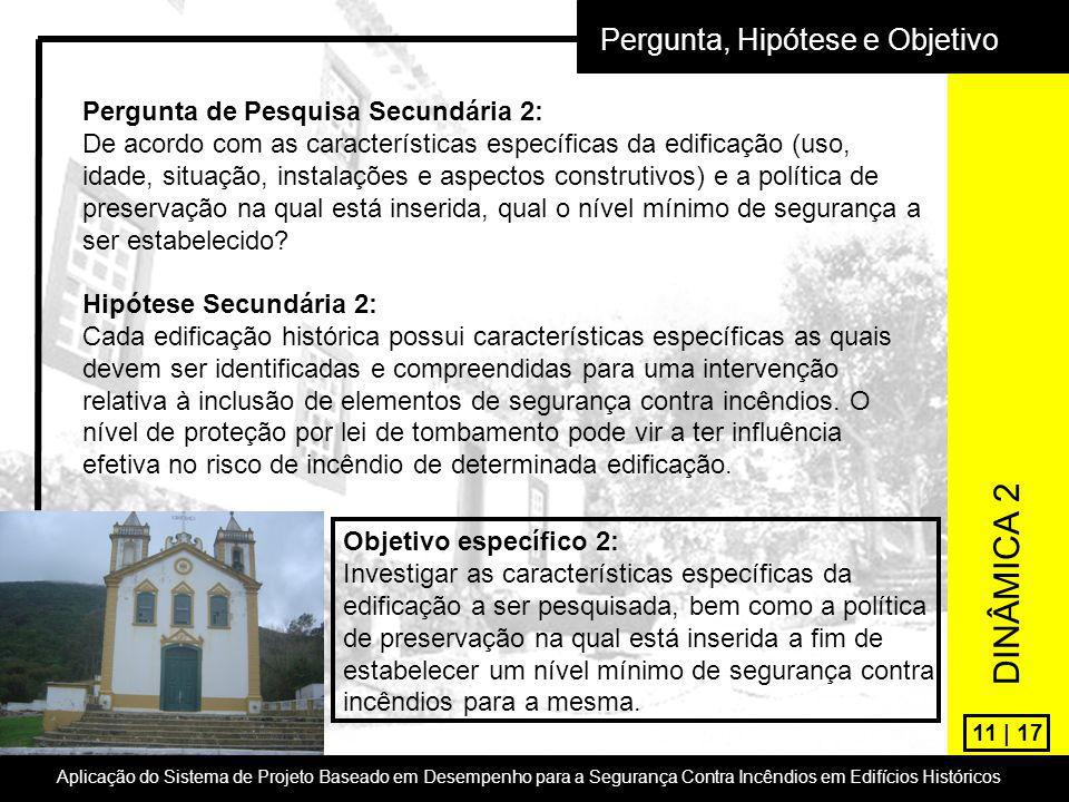 11 | 17 Pergunta, Hipótese e Objetivo Pergunta de Pesquisa Secundária 2: De acordo com as características específicas da edificação (uso, idade, situa