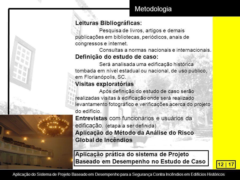 12 | 17 Metodologia Leituras Bibliográficas: Pesquisa de livros, artigos e demais publicações em bibliotecas, periódicos, anais de congressos e intern