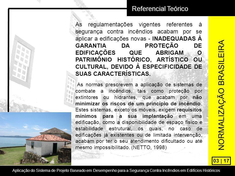 03 | 17 Referencial Teórico Aplicação do Sistema de Projeto Baseado em Desempenho para a Segurança Contra Incêndios em Edifícios Históricos As regulam