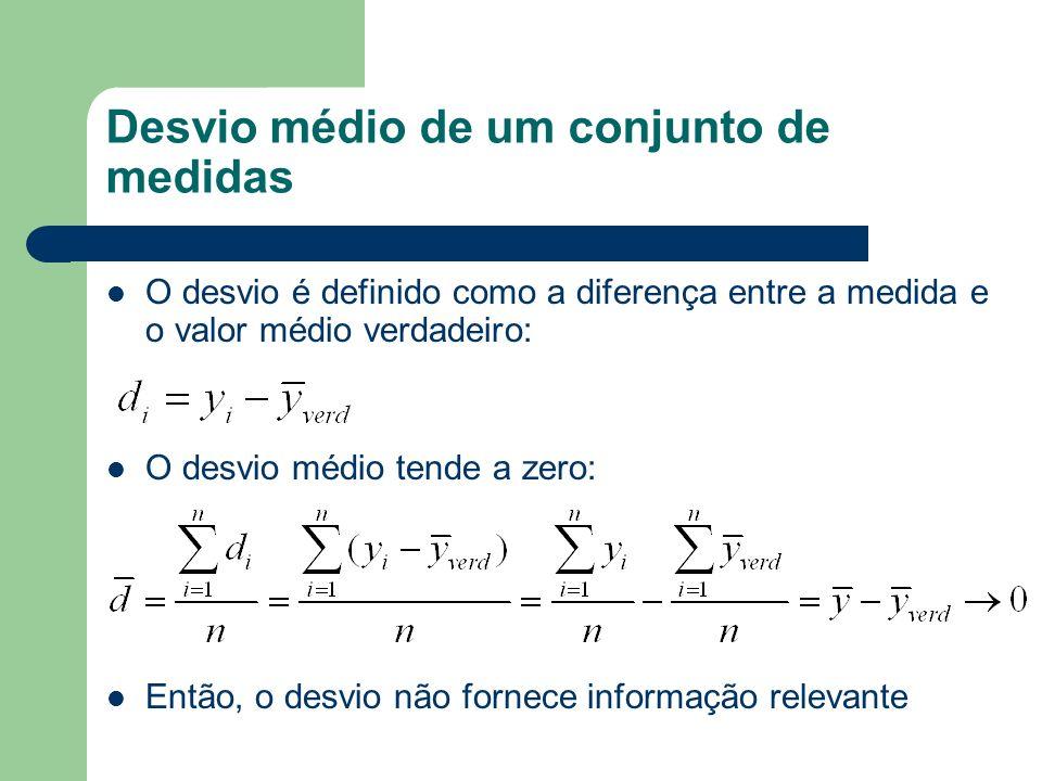 Desvio médio de um conjunto de medidas O desvio é definido como a diferença entre a medida e o valor médio verdadeiro: O desvio médio tende a zero: En