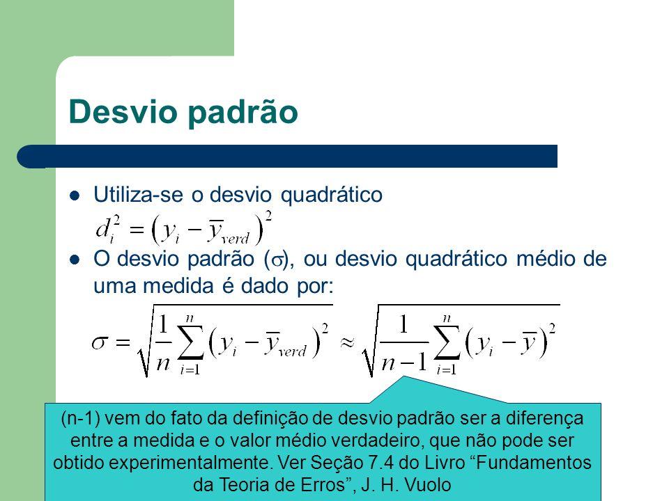Desvio padrão Utiliza-se o desvio quadrático O desvio padrão ( ), ou desvio quadrático médio de uma medida é dado por: (n-1) vem do fato da definição