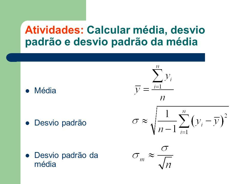 Atividades: Calcular média, desvio padrão e desvio padrão da média Média Desvio padrão Desvio padrão da média
