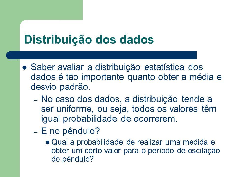 Distribuição dos dados Saber avaliar a distribuição estatística dos dados é tão importante quanto obter a média e desvio padrão. – No caso dos dados,