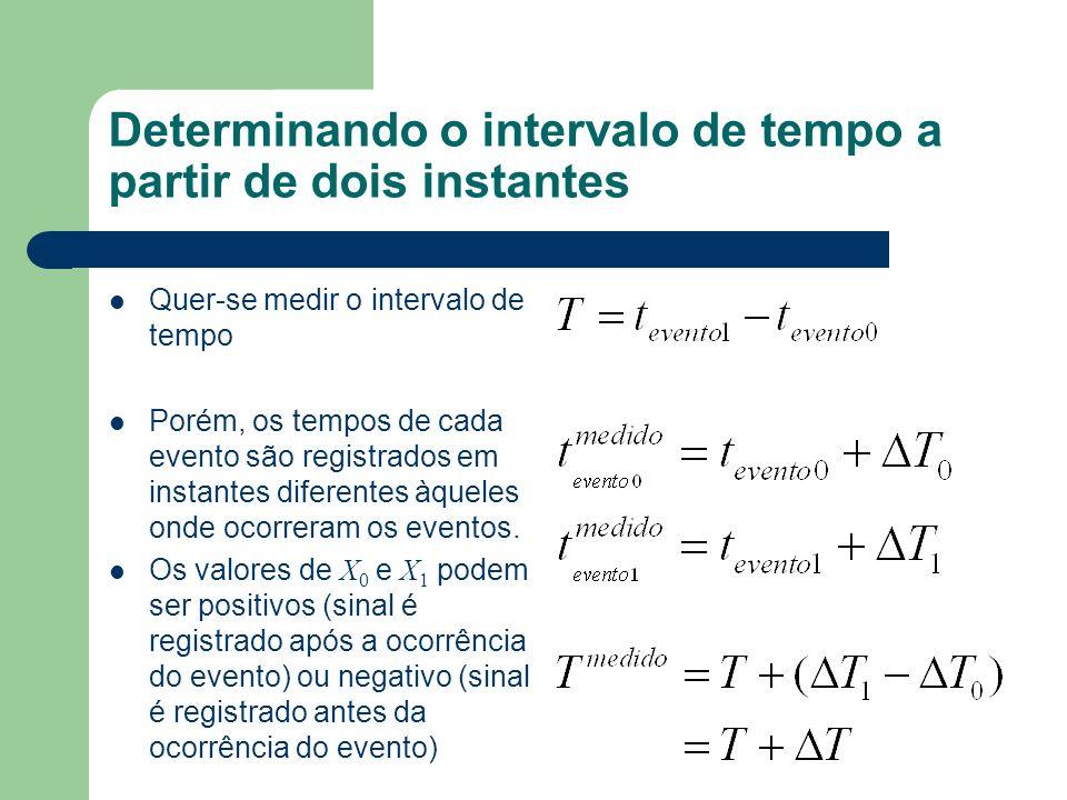Determinando o intervalo de tempo a partir de dois instantes Quer-se medir o intervalo de tempo Porém, os tempos de cada evento são registrados em ins
