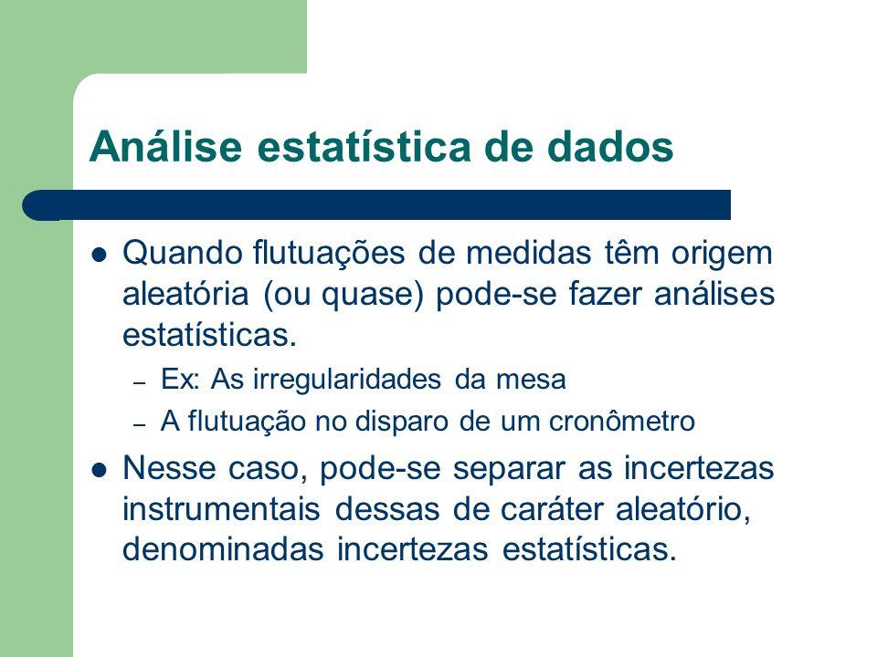 Análise estatística de dados Quando flutuações de medidas têm origem aleatória (ou quase) pode-se fazer análises estatísticas. – Ex: As irregularidade