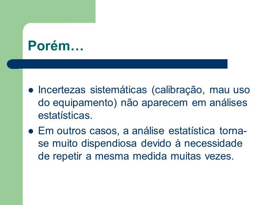 Porém… Incertezas sistemáticas (calibração, mau uso do equipamento) não aparecem em análises estatísticas. Em outros casos, a análise estatística torn