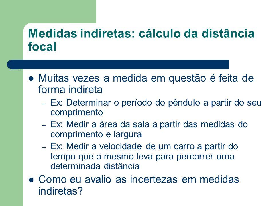 Medidas indiretas: cálculo da distância focal Muitas vezes a medida em questão é feita de forma indireta – Ex: Determinar o período do pêndulo a parti