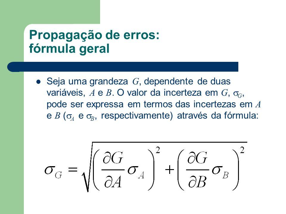 Propagação de erros: fórmula geral Seja uma grandeza G, dependente de duas variáveis, A e B.