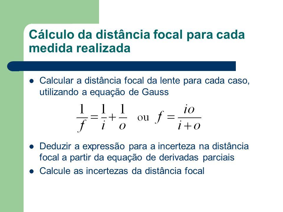 Cálculo da distância focal para cada medida realizada Calcular a distância focal da lente para cada caso, utilizando a equação de Gauss Deduzir a expressão para a incerteza na distância focal a partir da equação de derivadas parciais Calcule as incertezas da distância focal