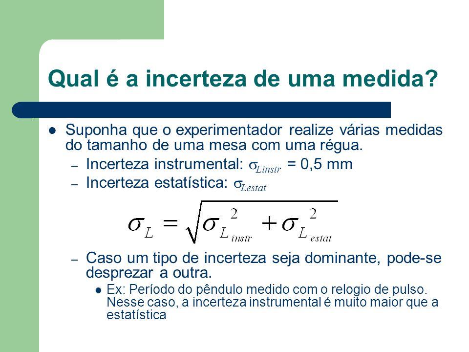 Qual é a incerteza de uma medida? Suponha que o experimentador realize várias medidas do tamanho de uma mesa com uma régua. – Incerteza instrumental: