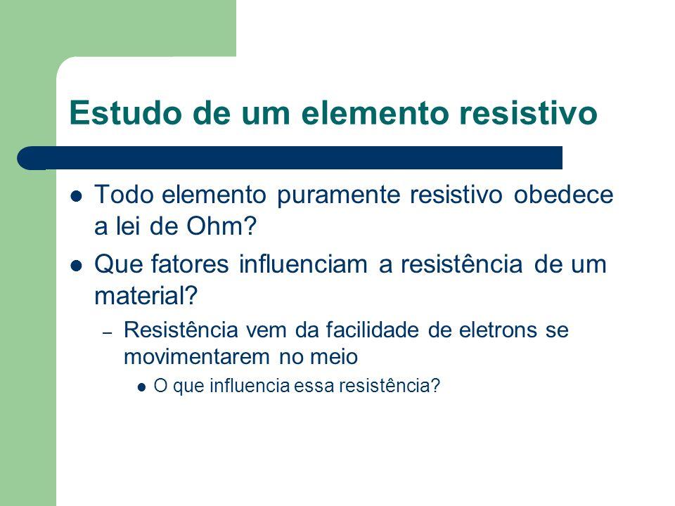 Estudo de um elemento resistivo Todo elemento puramente resistivo obedece a lei de Ohm? Que fatores influenciam a resistência de um material? – Resist