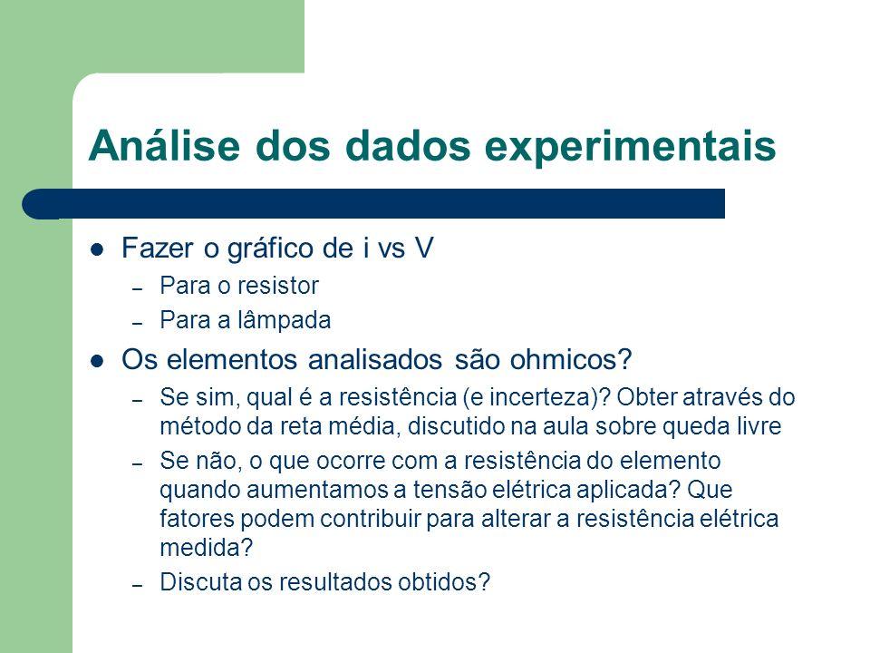 Análise dos dados experimentais Fazer o gráfico de i vs V – Para o resistor – Para a lâmpada Os elementos analisados são ohmicos? – Se sim, qual é a r