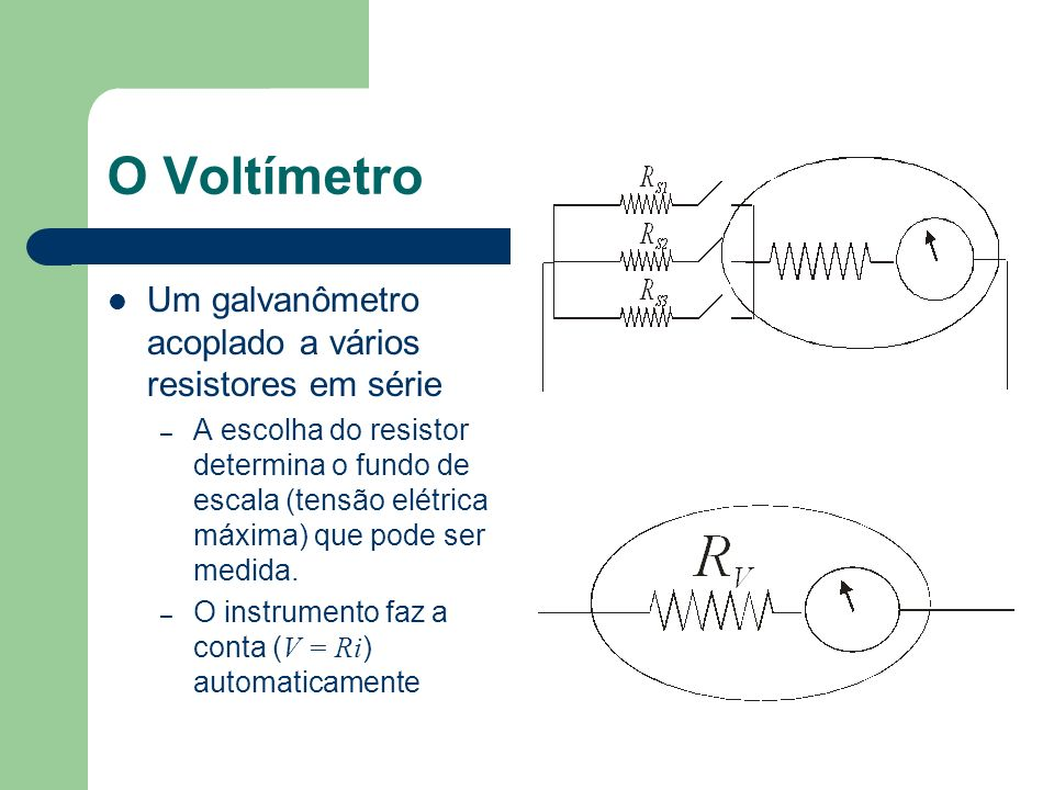 Uma consequência importante Voltímetros e amperímetros possuem resistência Voltímetros e amperímetros funcionam através do desvio de um pouco de corrente para o instrumento Voltímetros e amperímetros MODIFICAM as tensões e correntes em um circuito.