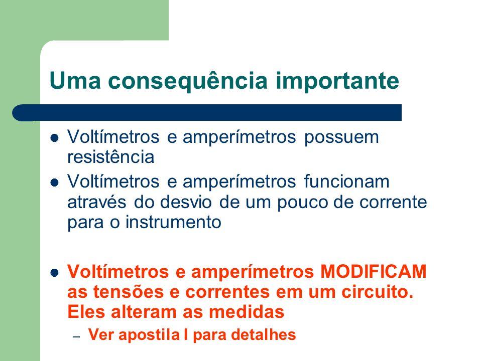 Uma consequência importante Voltímetros e amperímetros possuem resistência Voltímetros e amperímetros funcionam através do desvio de um pouco de corre