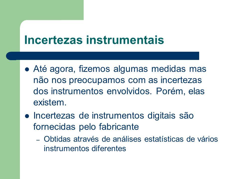 Incertezas instrumentais Até agora, fizemos algumas medidas mas não nos preocupamos com as incertezas dos instrumentos envolvidos. Porém, elas existem