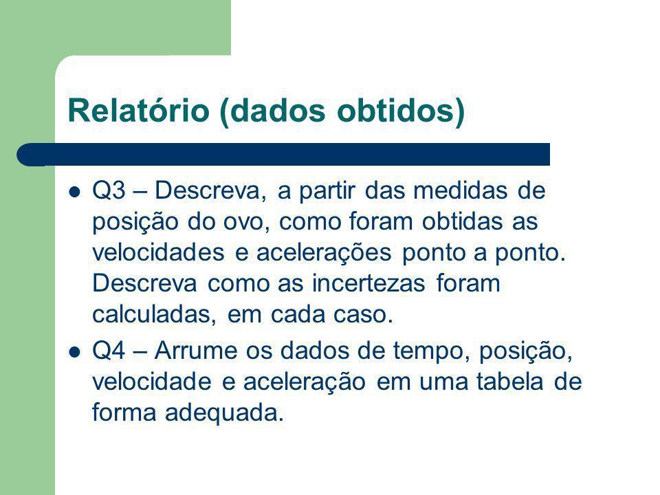 Relatório (introdução e descrição experimental) Esquecer as questões da apostila !!!! Q1 – Quais são os objetivos do experimento? Q2 – Descreva o apar