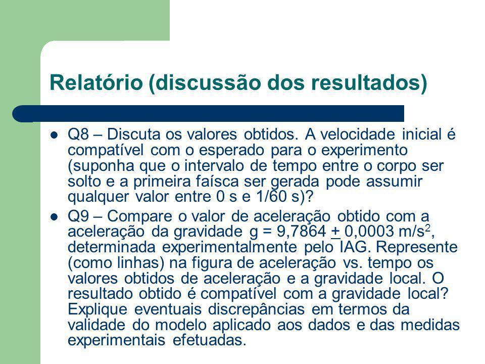 Relatório (análise dos dados obtidos) Q5 – Faça um gráfico de velocidade vs. tempo e aceleração vs. tempo. Explique as principais características dos