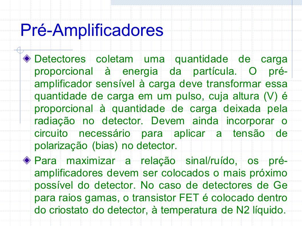 Pré-Amplificadores Detectores coletam uma quantidade de carga proporcional à energia da partícula. O pré- amplificador sensível à carga deve transform