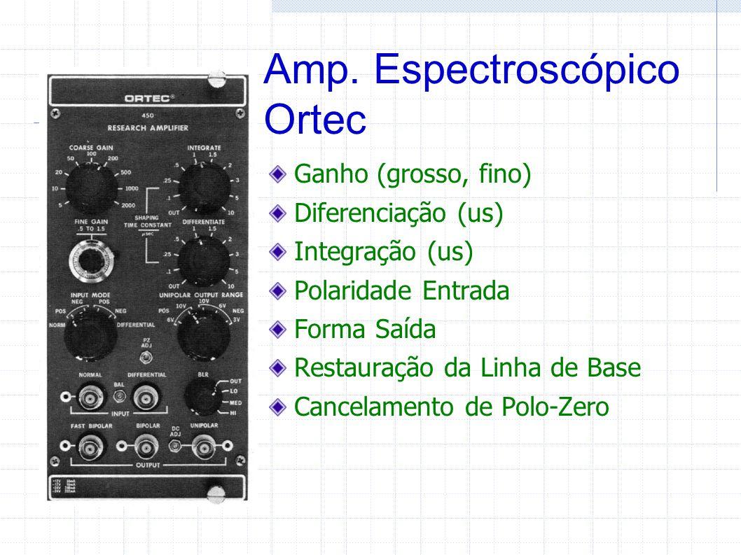 Amp. Espectroscópico Ortec Ganho (grosso, fino) Diferenciação (us) Integração (us) Polaridade Entrada Forma Saída Restauração da Linha de Base Cancela