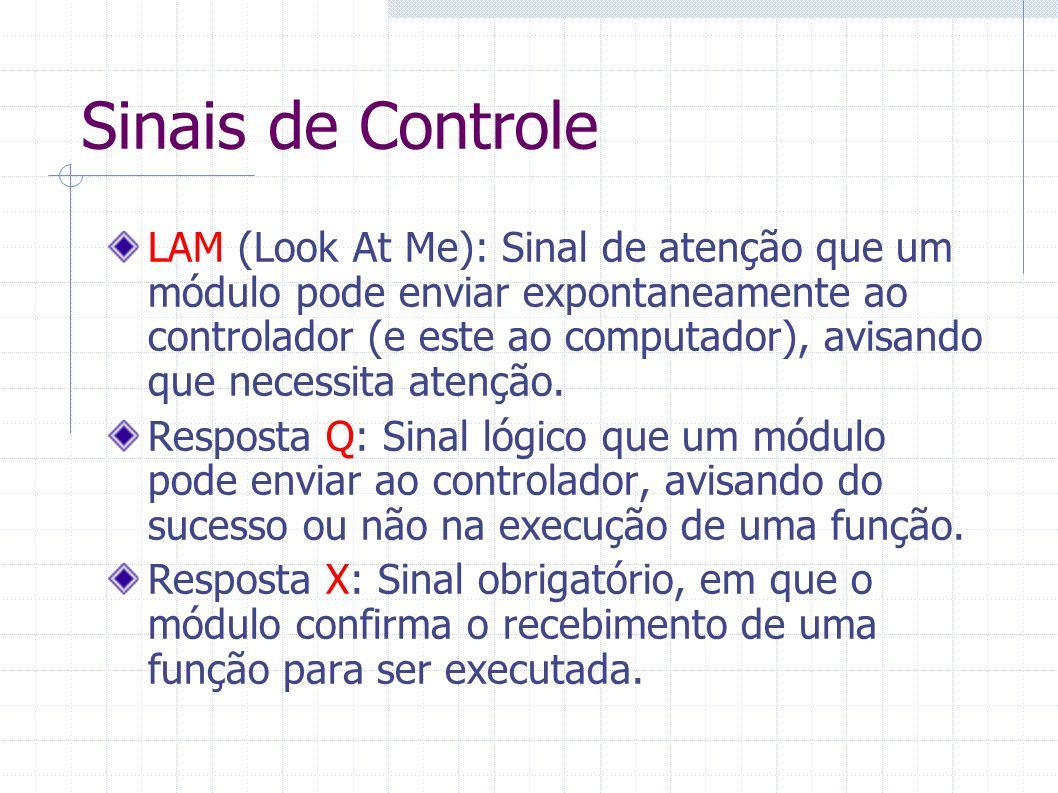 Sinais de Controle LAM (Look At Me): Sinal de atenção que um módulo pode enviar expontaneamente ao controlador (e este ao computador), avisando que ne