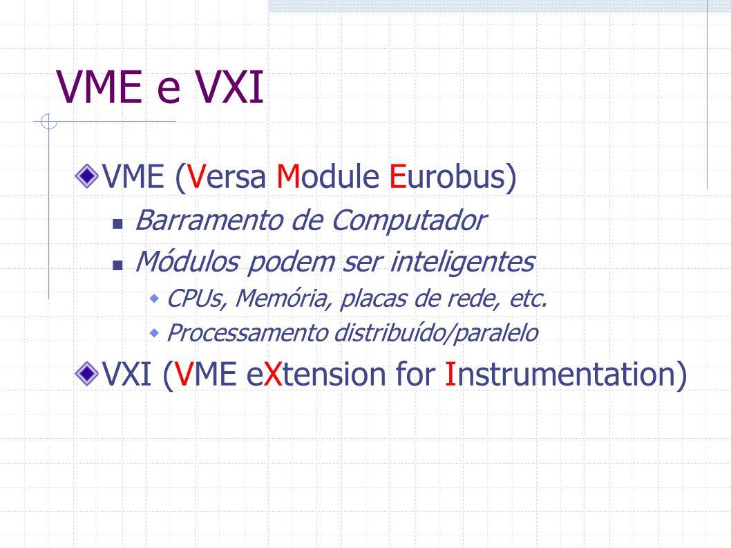 VME e VXI VME (Versa Module Eurobus) Barramento de Computador Módulos podem ser inteligentes CPUs, Memória, placas de rede, etc. Processamento distrib