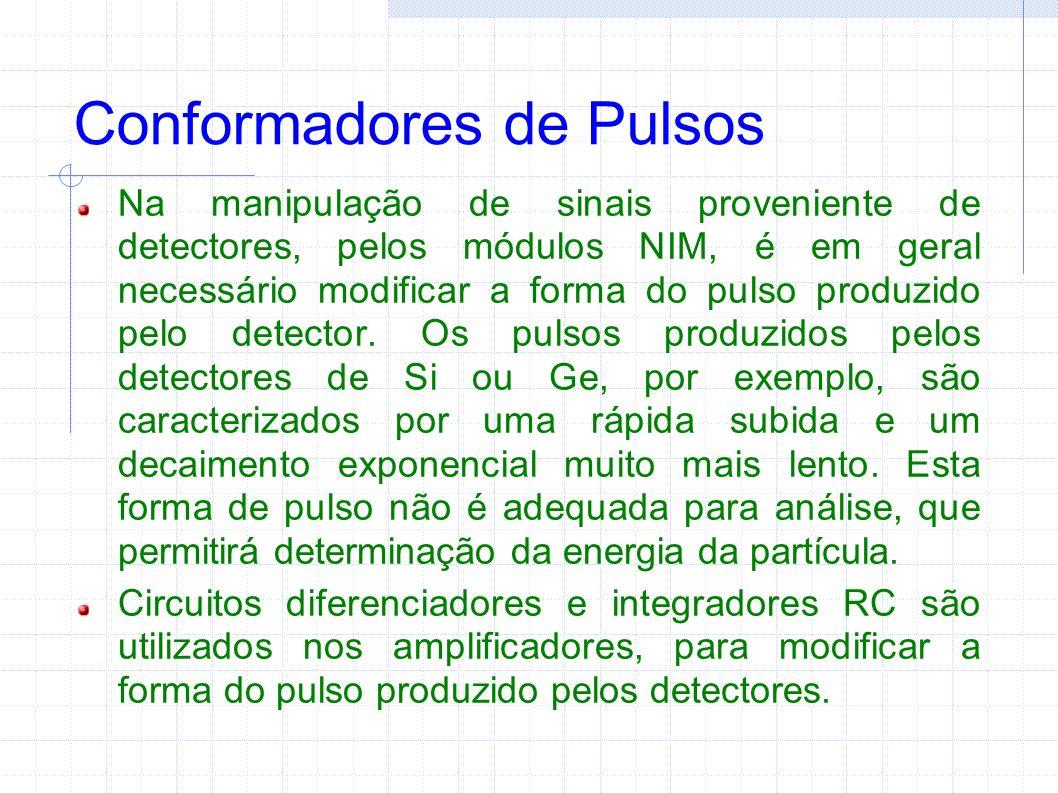 Conformadores de Pulsos Na manipulação de sinais proveniente de detectores, pelos módulos NIM, é em geral necessário modificar a forma do pulso produzido pelo detector.