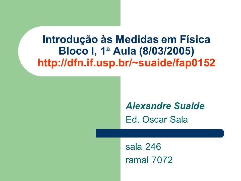 Alexandre Suaide Ed. Oscar Sala sala 246 ramal 7072 Introdução às Medidas em Física Bloco I, 1 a Aula (8/03/2005) http://dfn.if.usp.br/~suaide/fap0152