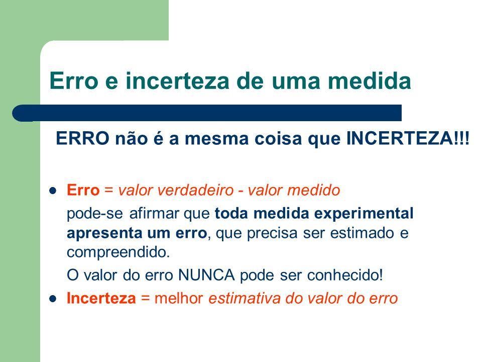 Erro e incerteza de uma medida ERRO não é a mesma coisa que INCERTEZA!!! Erro = valor verdadeiro - valor medido pode-se afirmar que toda medida experi