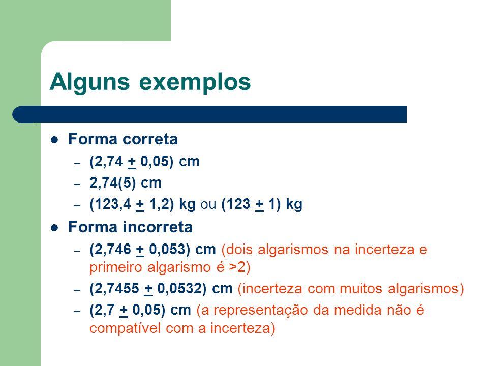 Alguns exemplos Forma correta – (2,74 + 0,05) cm – 2,74(5) cm – (123,4 + 1,2) kg ou (123 + 1) kg Forma incorreta – (2,746 + 0,053) cm (dois algarismos