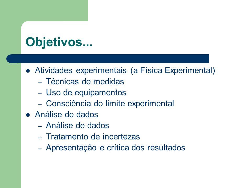 Objetivos... Atividades experimentais (a Física Experimental) – Técnicas de medidas – Uso de equipamentos – Consciência do limite experimental Análise