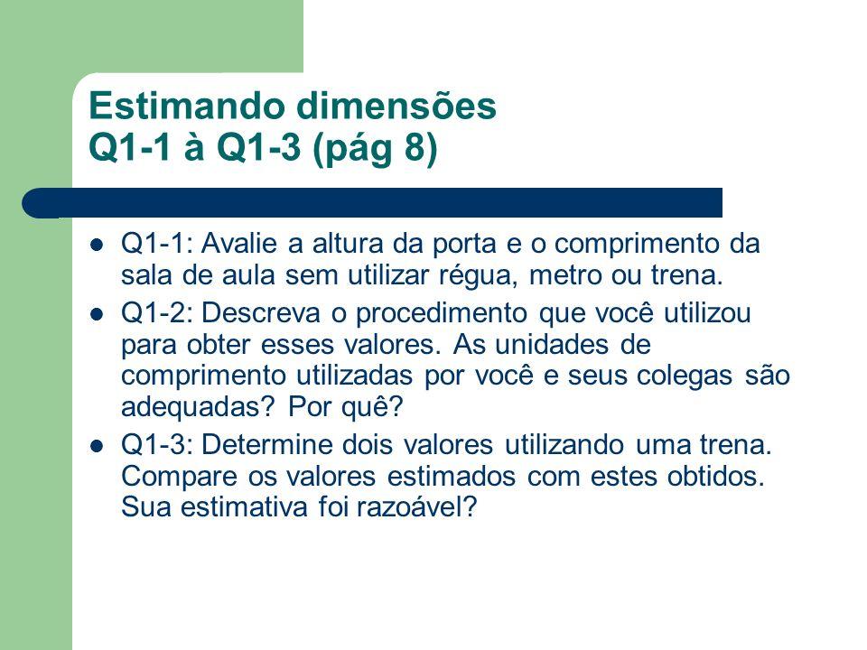 Estimando dimensões Q1-1 à Q1-3 (pág 8) Q1-1: Avalie a altura da porta e o comprimento da sala de aula sem utilizar régua, metro ou trena. Q1-2: Descr