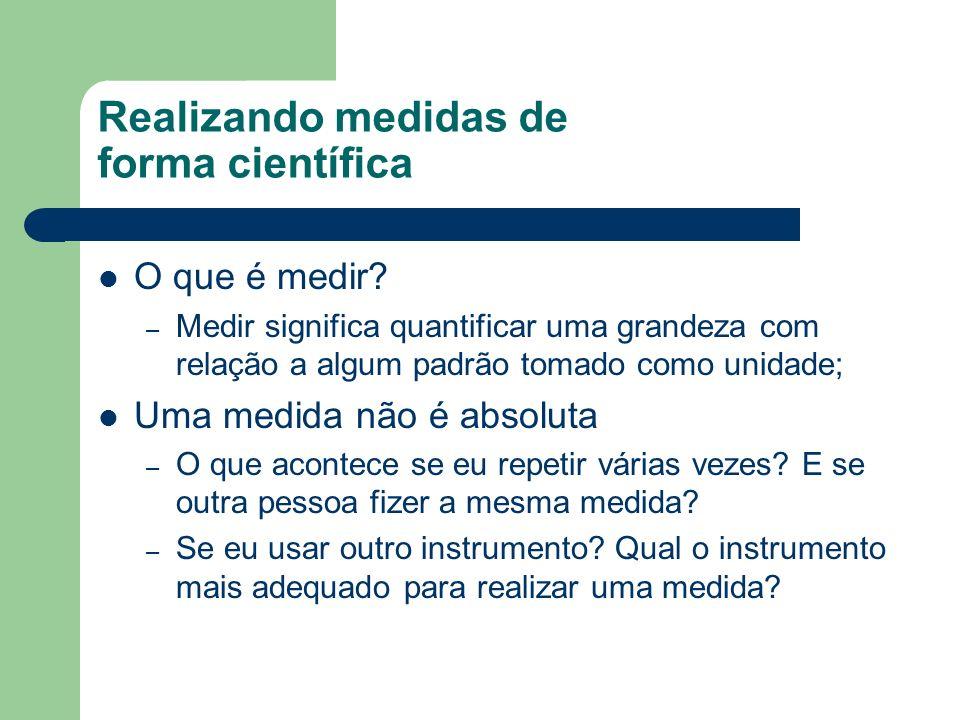 Realizando medidas Q1-4 à Q1-7 (pág 8) Q1-4: Escolha um instrumento adequado para medir a altura da mesa.
