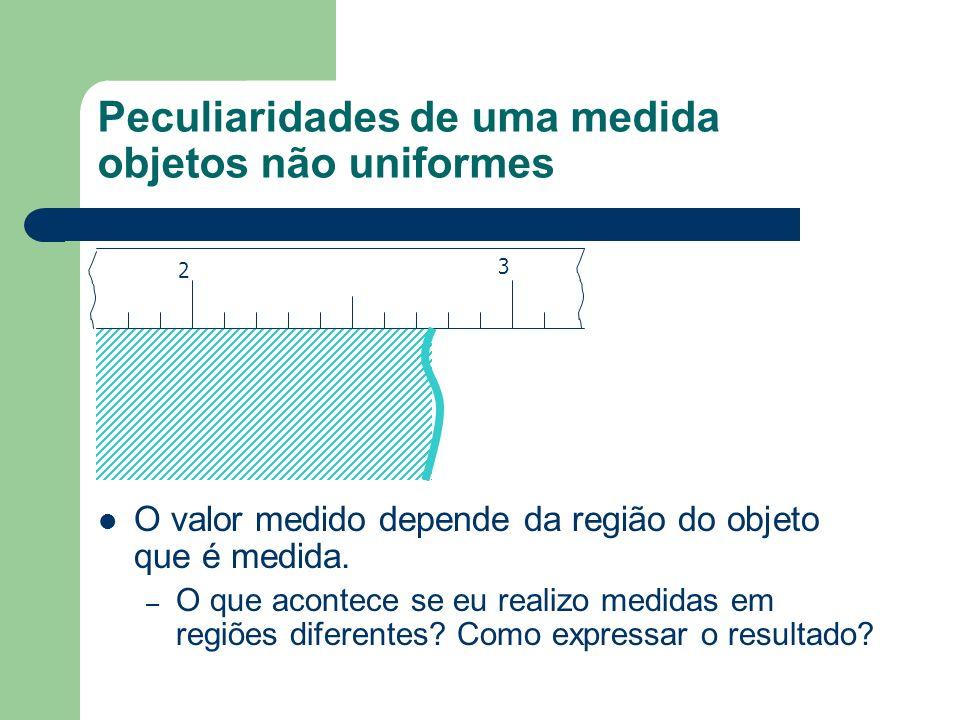 Peculiaridades de uma medida objetos não uniformes 2 3 O valor medido depende da região do objeto que é medida. – O que acontece se eu realizo medidas