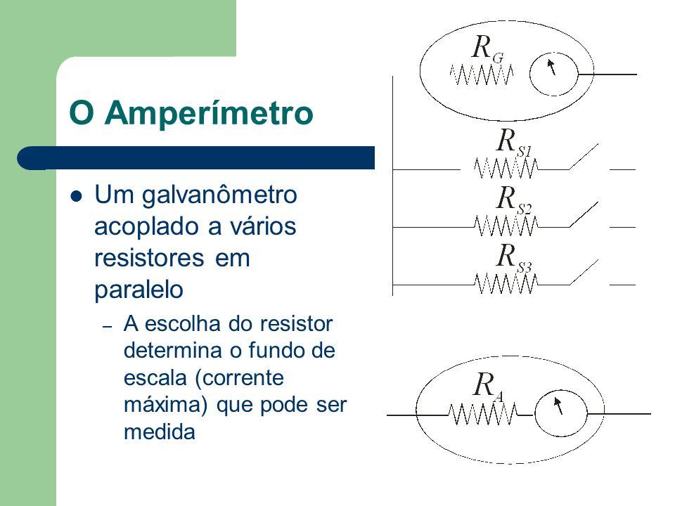 O Amperímetro Um galvanômetro acoplado a vários resistores em paralelo – A escolha do resistor determina o fundo de escala (corrente máxima) que pode