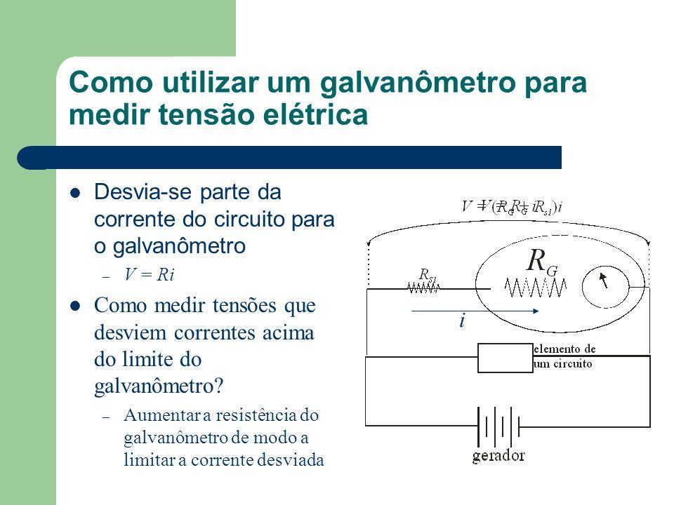 Como utilizar um galvanômetro para medir tensão elétrica Desvia-se parte da corrente do circuito para o galvanômetro – V = Ri Como medir tensões que d