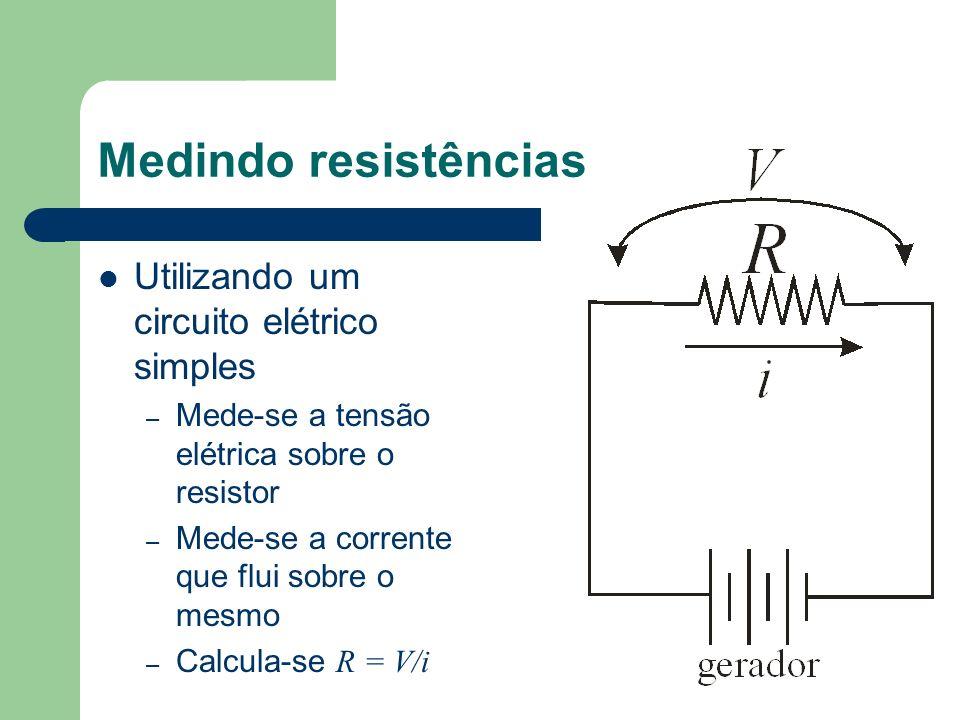 Medindo resistências Utilizando um circuito elétrico simples – Mede-se a tensão elétrica sobre o resistor – Mede-se a corrente que flui sobre o mesmo