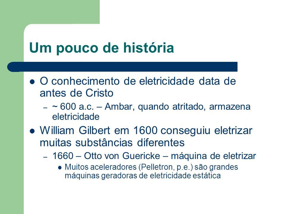Um pouco de história O conhecimento de eletricidade data de antes de Cristo – ~ 600 a.c. – Ambar, quando atritado, armazena eletricidade William Gilbe