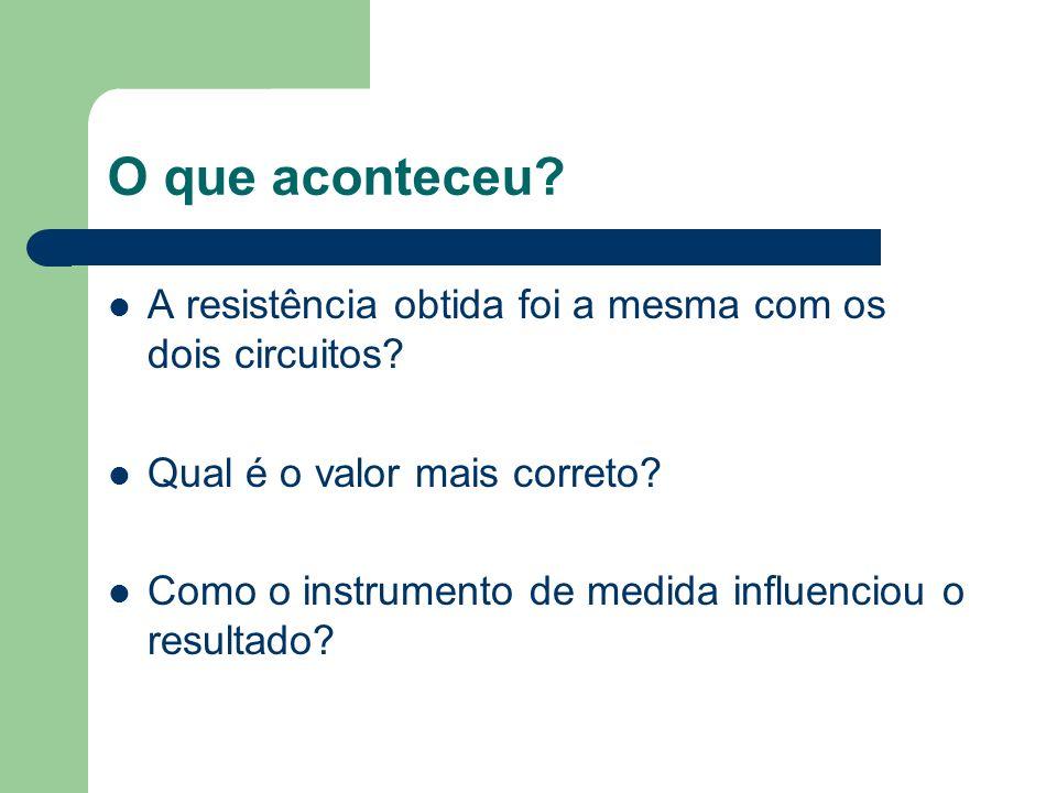 O que aconteceu? A resistência obtida foi a mesma com os dois circuitos? Qual é o valor mais correto? Como o instrumento de medida influenciou o resul