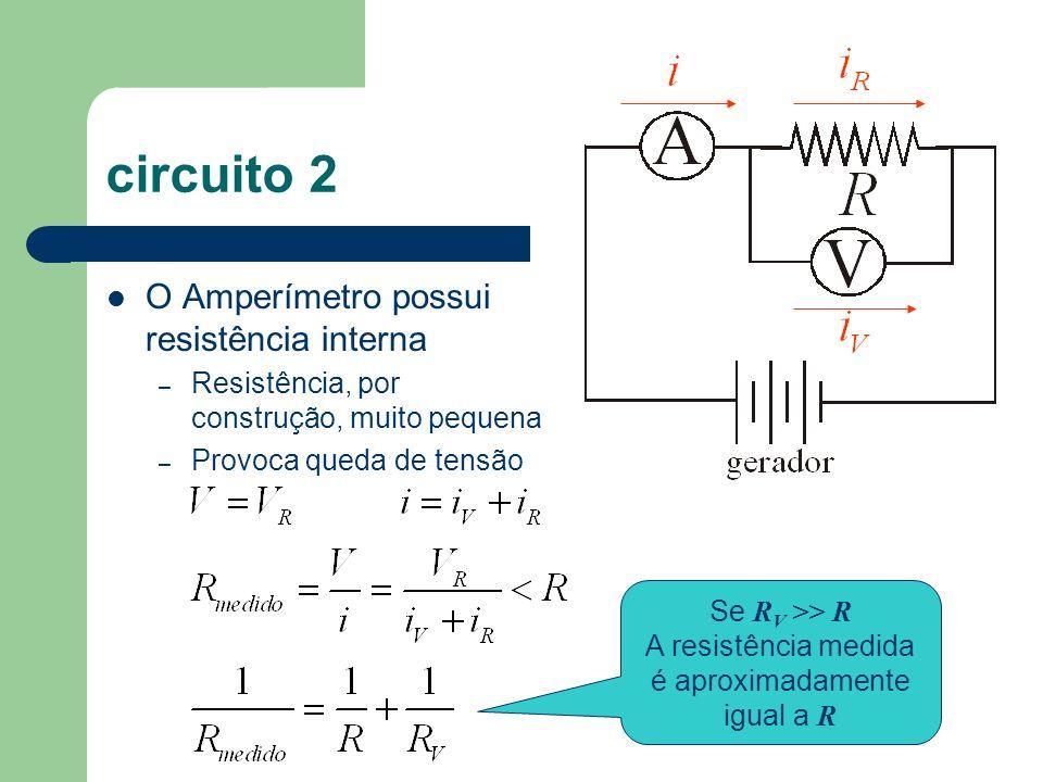 circuito 2 O Amperímetro possui resistência interna – Resistência, por construção, muito pequena – Provoca queda de tensão Se R V >> R A resistência m