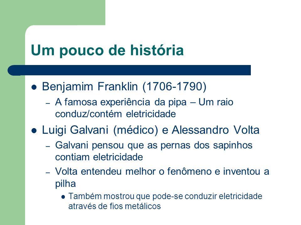 Um pouco de história Benjamim Franklin (1706-1790) – A famosa experiência da pipa – Um raio conduz/contém eletricidade Luigi Galvani (médico) e Alessa
