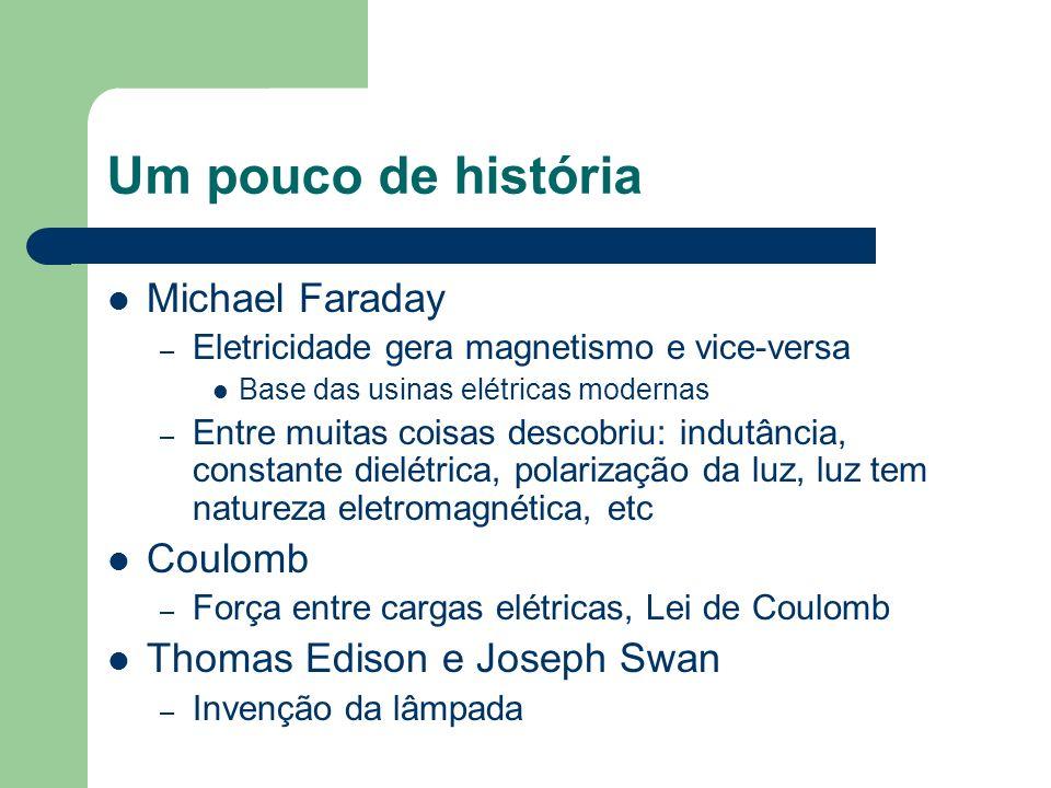 Um pouco de história Michael Faraday – Eletricidade gera magnetismo e vice-versa Base das usinas elétricas modernas – Entre muitas coisas descobriu: i