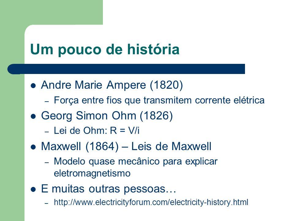 Um pouco de história Andre Marie Ampere (1820) – Força entre fios que transmitem corrente elétrica Georg Simon Ohm (1826) – Lei de Ohm: R = V/i Maxwel